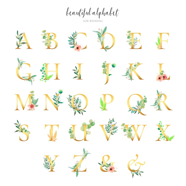 Golden alphabet collection with floral ornaments Free Vector