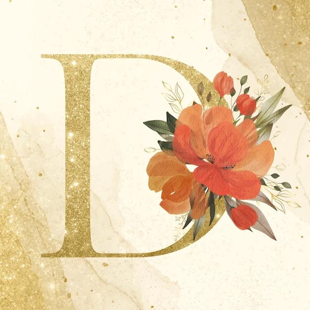 브랜딩 및 웨딩 로고를위한 수채화 꽃 장식이있는 황금 알파벳 d 무료 벡터