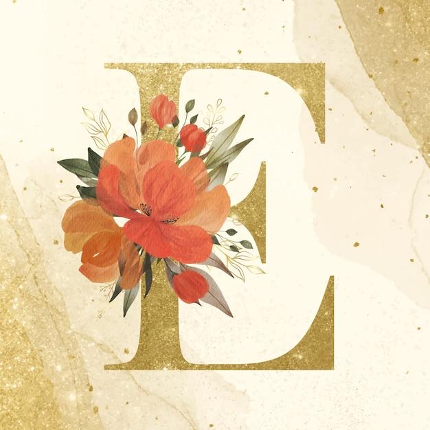 ブランディングと結婚式のロゴのための水彩画の花の装飾と黄金のアルファベットe 無料ベクター