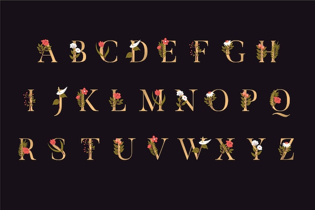 Golden alphabet letters with flowers Free Vector