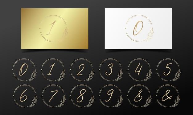 Golden alphabet number in round frame for logo and branding design. Free Vector