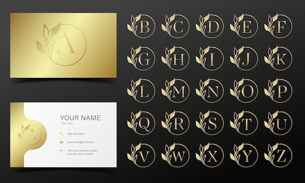 Golden alphabet in round frame for logo and branding design. Free Vector