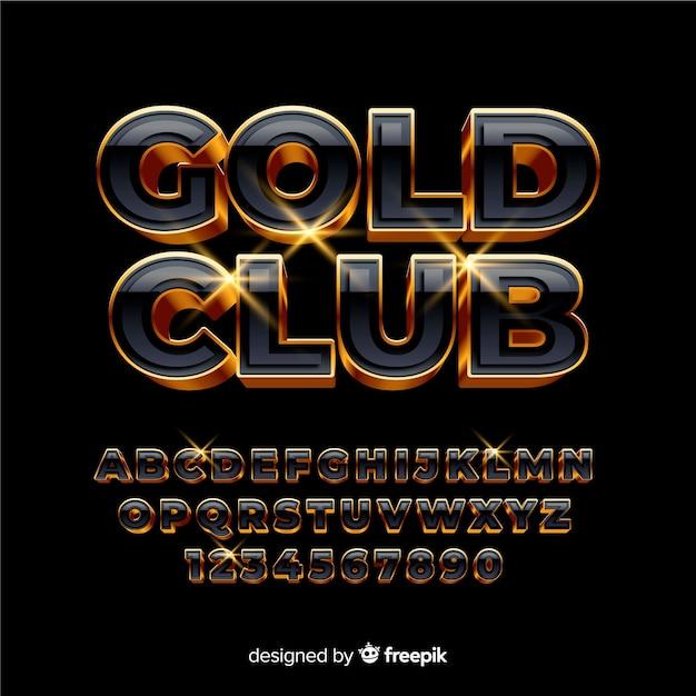 Golden alphabet template Free Vector
