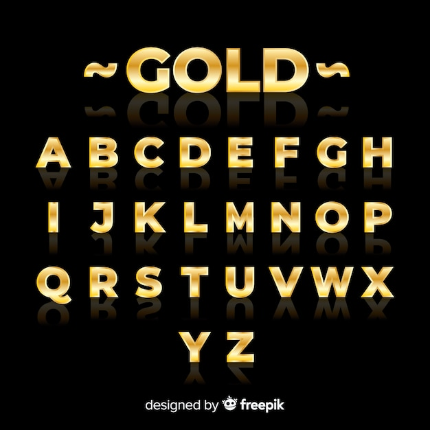 Golden alphabet template Free Vector