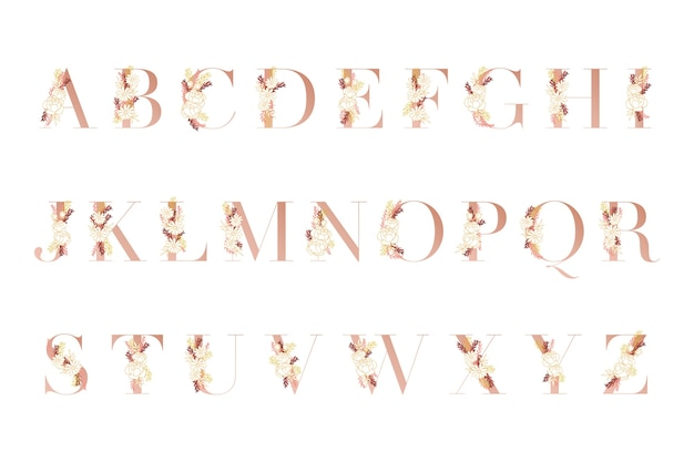 Golden alphabet with different flowers Free Vector