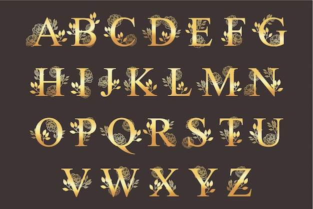 Golden alphabet with elegant beautiful flowers Free Vector