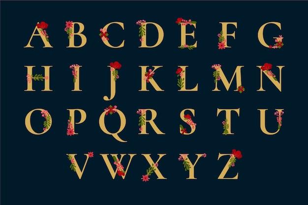 Golden alphabet with elegant cute flowers Free Vector