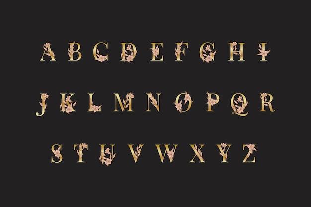 Alfabeto dorato con fiori eleganti Vettore gratuito