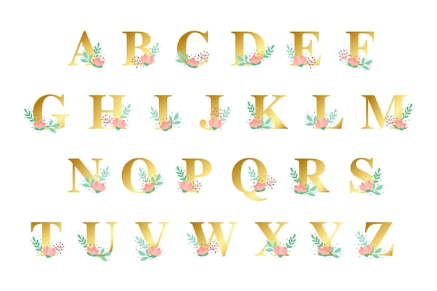 Golden alphabet with golden flowers theme Free Vector