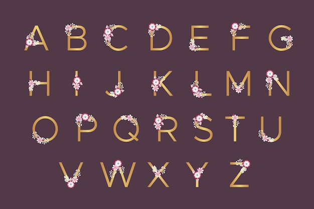 Golden alphabet with spring flowers for wedding Free Vector