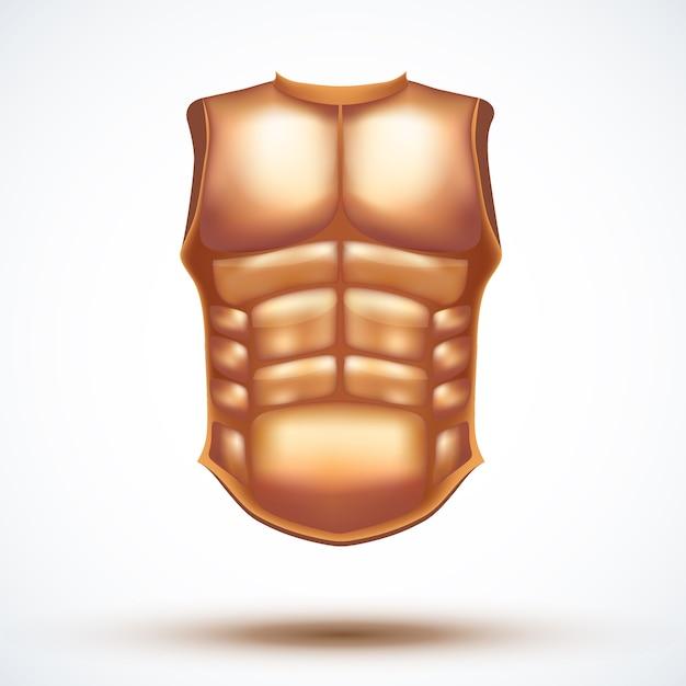 Golden ancient gladiator body armor.  illustration  on white background. Premium Vector
