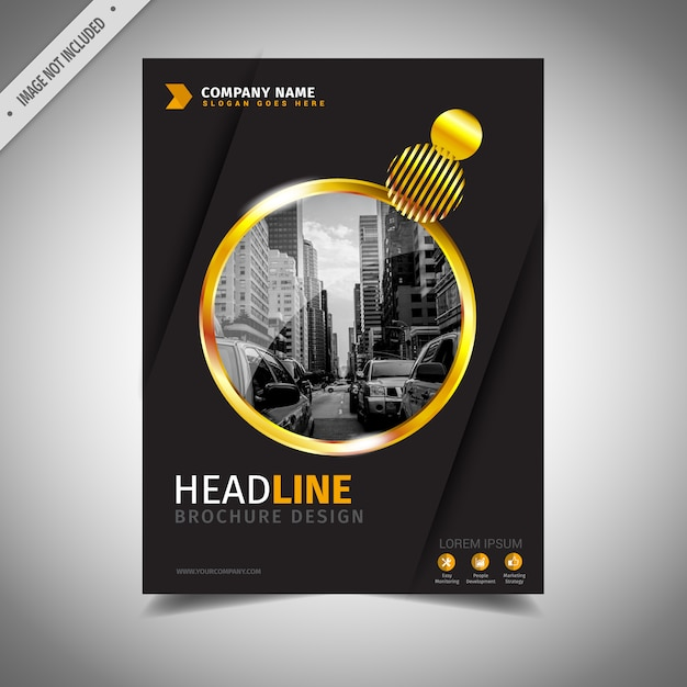 Golden And Black Business Brochure Design Vector  Free Download