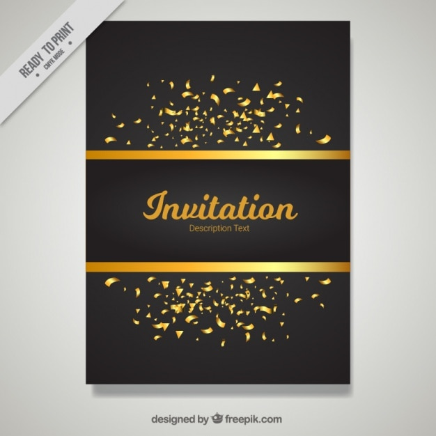 Golden and black invitation template vector free download golden and black invitation template free vector stopboris Images