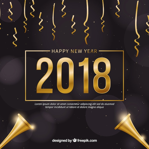 golden and black new year 2018 background with confetti free vector
