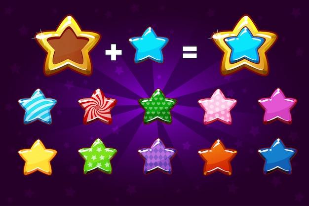 Золотая и цветная звезда для повышения уровня. элементы графического интерфейса иконки для игры Premium векторы
