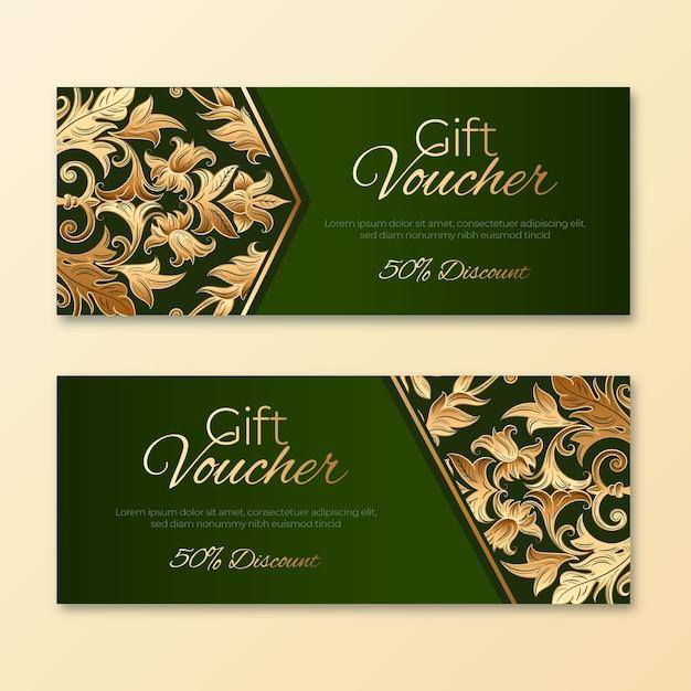 황금과 녹색 선물 바우처 서식 파일 무료 벡터