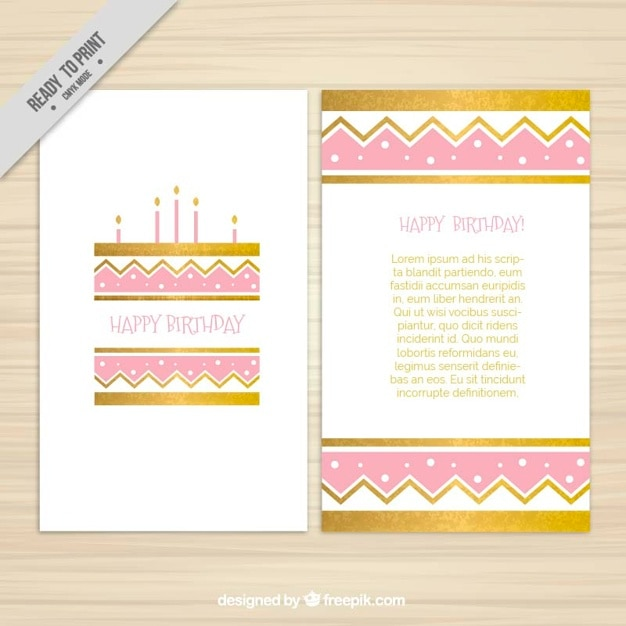 Golden and pink birthday invitation