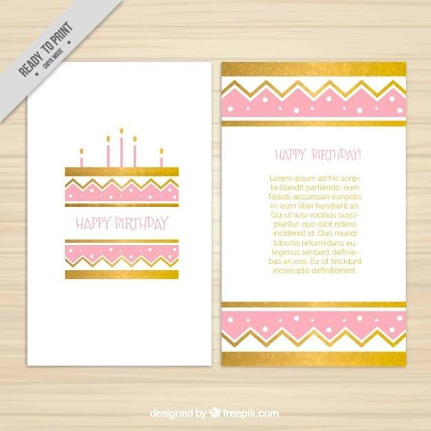 Golden and pink birthday invitation vector free download golden and pink birthday invitation free vector stopboris Images