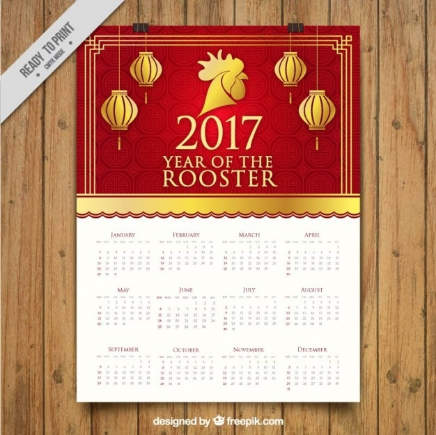 Golden and red calendar for year of the rooster Free Vector