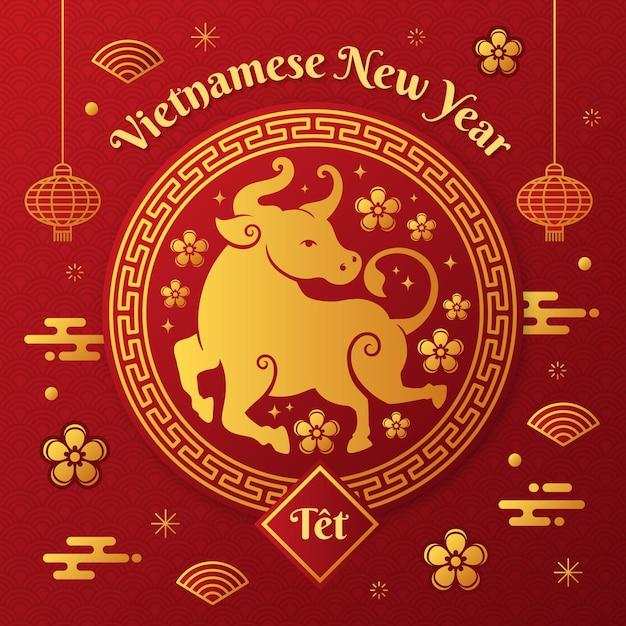 Золотой и красный счастливый вьетнамский новый год 2021 Бесплатные векторы