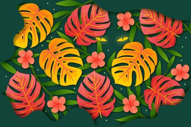 황금과 붉은 열대 나뭇잎 확대 배경 무료 벡터