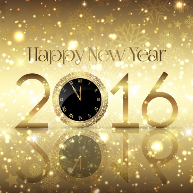 Golden and shiny new year background Free Vector