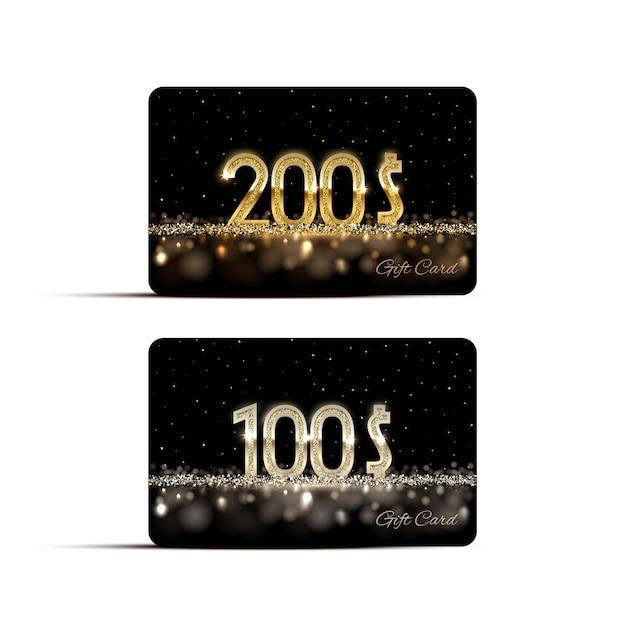 황금과 은색 선물 카드 템플릿. 프리미엄 벡터