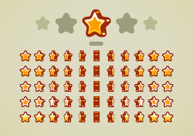 Golden animated stars for video games Premium Vector
