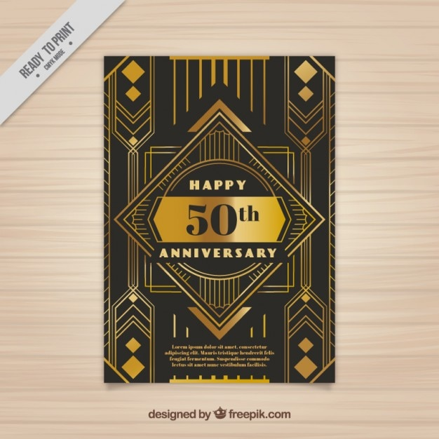 Golden Anniversary Card In Art Deco Style Free Vector