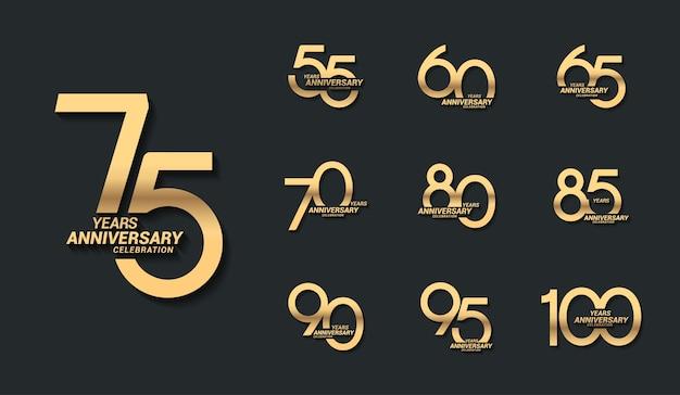 Набор логотипов празднования золотой годовщины Premium векторы