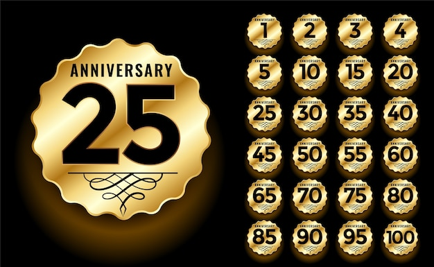 Golden anniversary label and emblems logotype set Free Vector