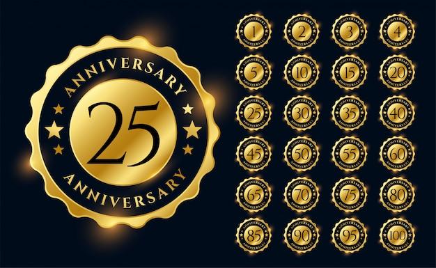 Золотой юбилей этикетки логотип эмблемы большой набор Бесплатные векторы