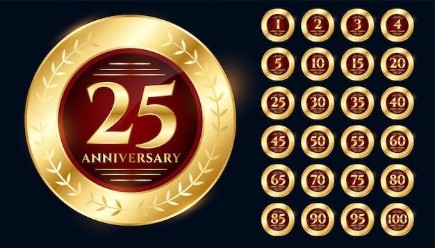 Golden anniversary logo collection premium design set Free Vector