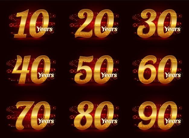 Золотые номера годовщины установлены. 3d празднование логотипа с золотой сверкающей спиральной звездной пылью след сверкающих частиц. Premium векторы