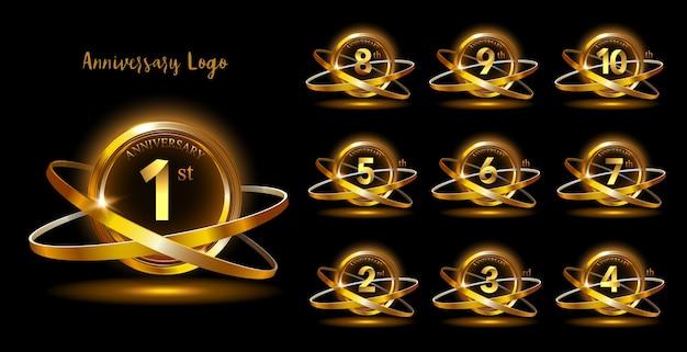 Golden anniversay premium emblem set Premium Vector