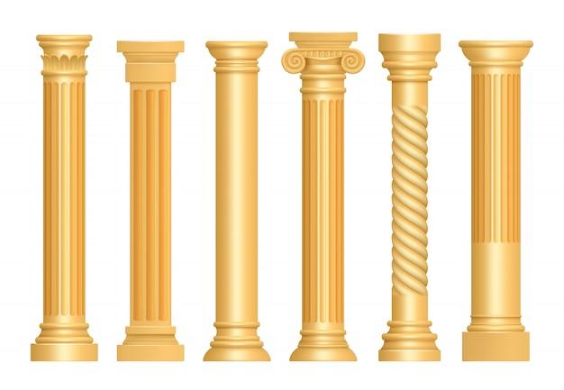 Золотая античная колонна. классические римские колонны архитектурное искусство скульптура пьедестал вектор реалистичный Premium векторы