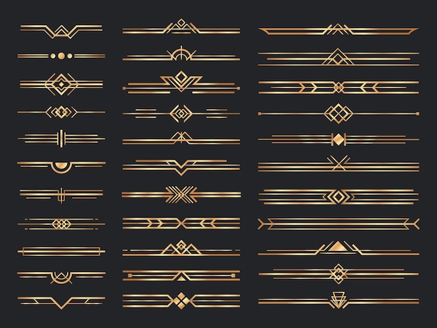 Golden art deco dividers. vintage gold ornaments, decorative divider and 1920s header ornament Free Vector