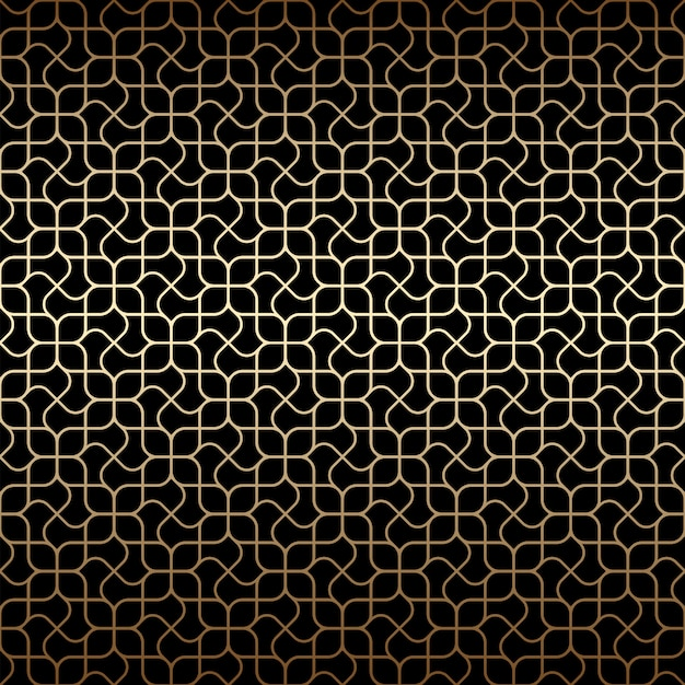 Golden art deco linear seamless pattern with stylized flowers ,black and gold colors Premium Vector