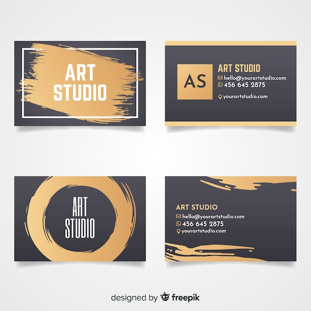Golden art studio card template Free Vector