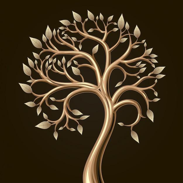Golden art tree with leaves in vector graphics. Premium Vector
