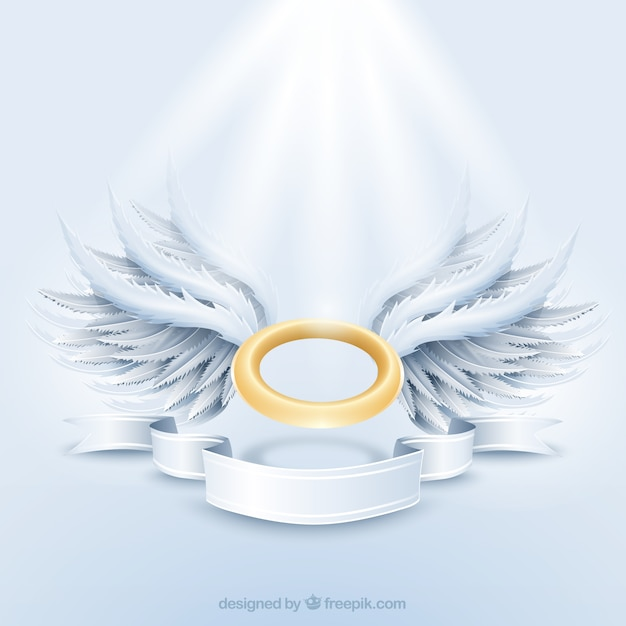 Golden aureole and white wings Free Vector