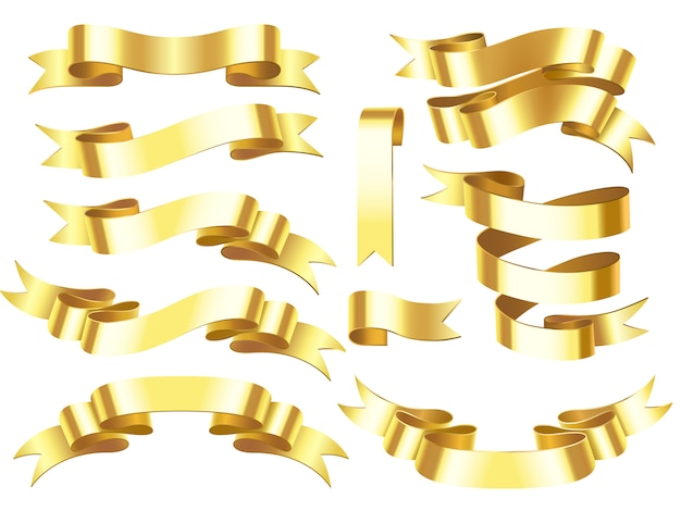 Golden award or celebration horizontal ribbons with scroll isolated illustration Premium Vector
