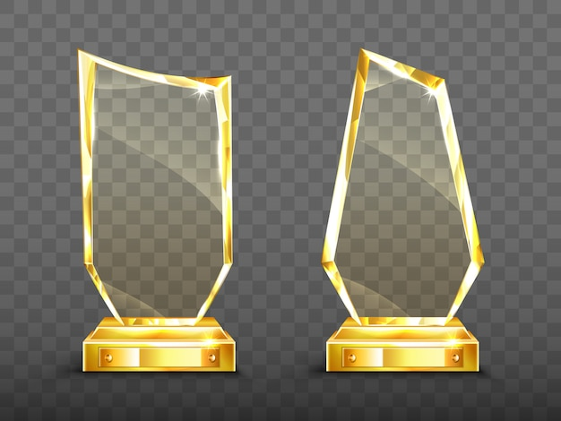 Golden award glass trophy with sparkling edges Free Vector