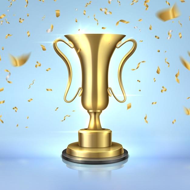 황금 상. 현실적인 챔피언 컵, 3d 우승자 트로피 디자인 서식 파일, 색종이와 리더십 개념. 파랑에 금상 프리미엄 벡터