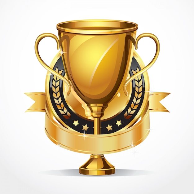 Golden award trophy and medal. Premium Vector