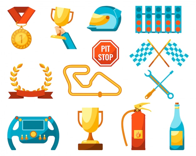 Golden awards for competitions winners Premium Vector