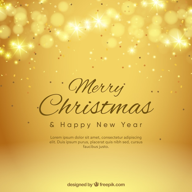 Golden Background Bokeh Of Merry Christmas Vector Free