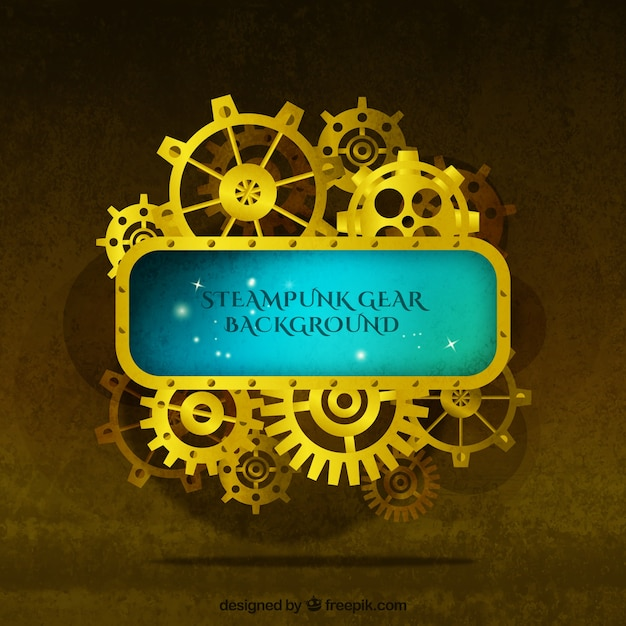 Golden background of gears in vintage style Free Vector