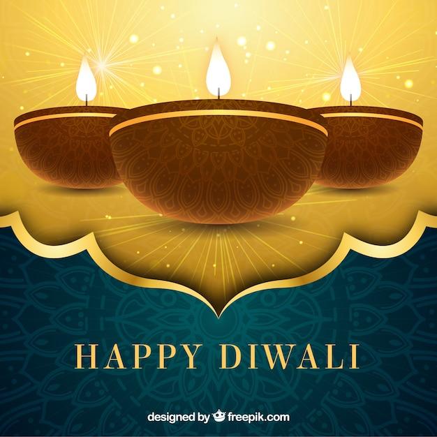 Golden background of happy diwali Free Vector