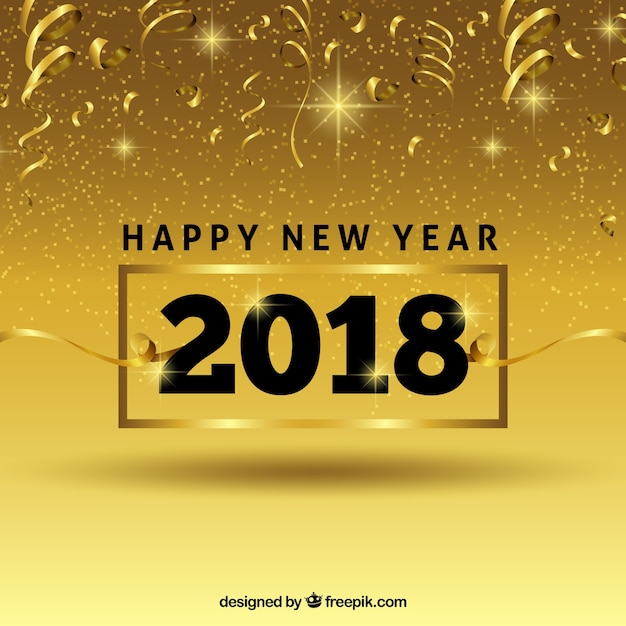 Golden background of happy year 2018